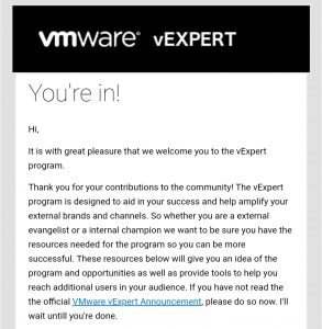 vExpert announcement
