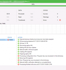 How to fix Veeam VM replication error 'The given key was not present in the dictionary.'