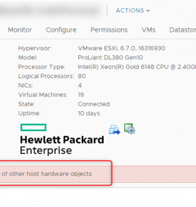 "HPE Gen10 Proliant ""Status of other host hardware objects"" error"