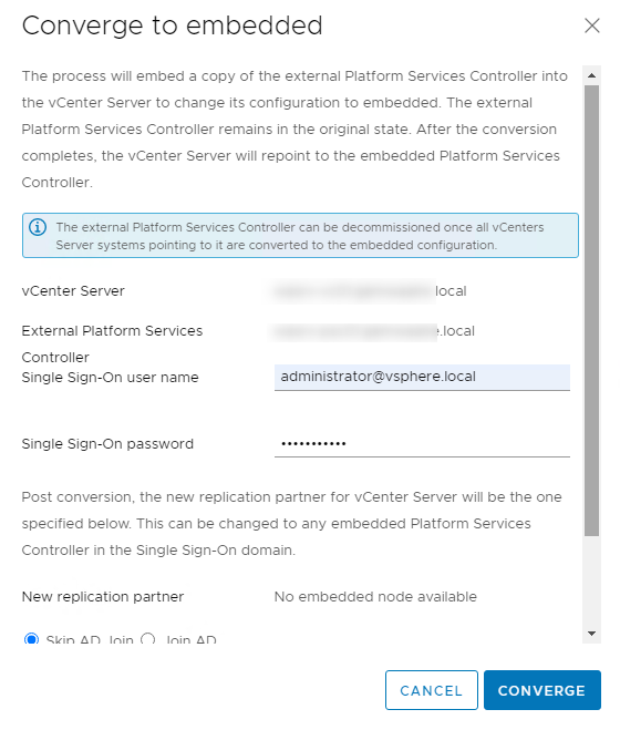 """VMware vSphere Client """"Converge to embedded"""" operation window"""