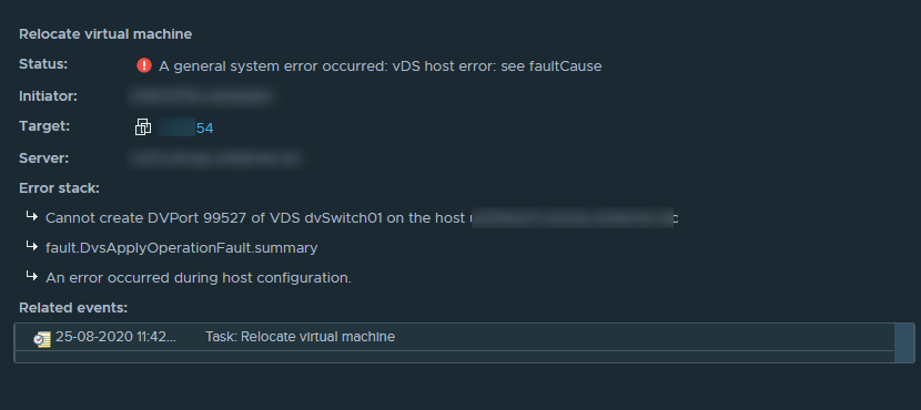 vDS host error: see faultCause