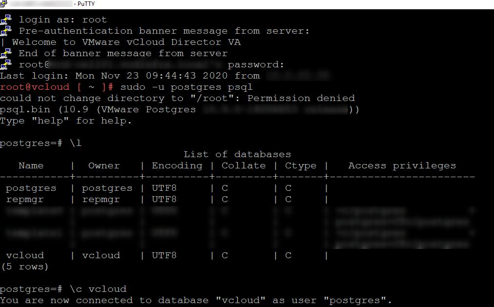 Listing the VCD Postgresql databases
