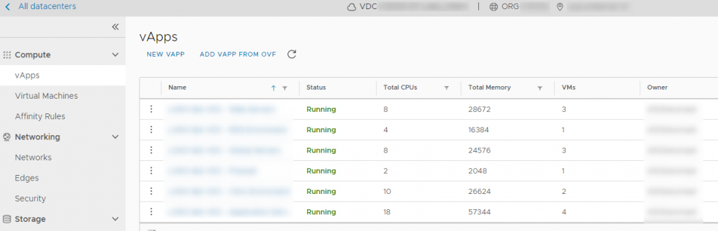 VCD HTML5 vAPP UI