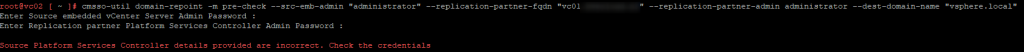 cmsso-util domain-repoint command failure
