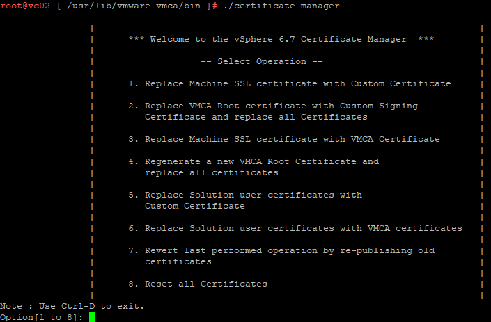 Certificate-Manager utility in the vCenter Server
