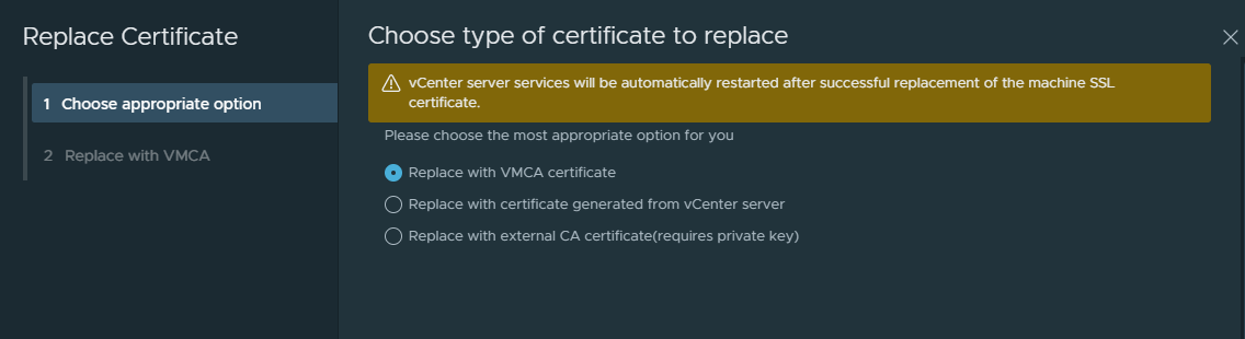 vCenter Server Certificate Management from the vSphere Client