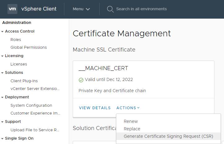 vSphere Client certificate management
