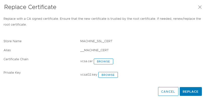 vSphere Client Certificate Manager certificate replacement