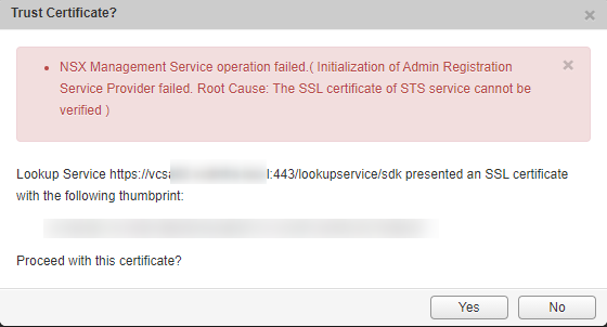 NSX Manager error message while adding NSX-V Manager to vCenter
