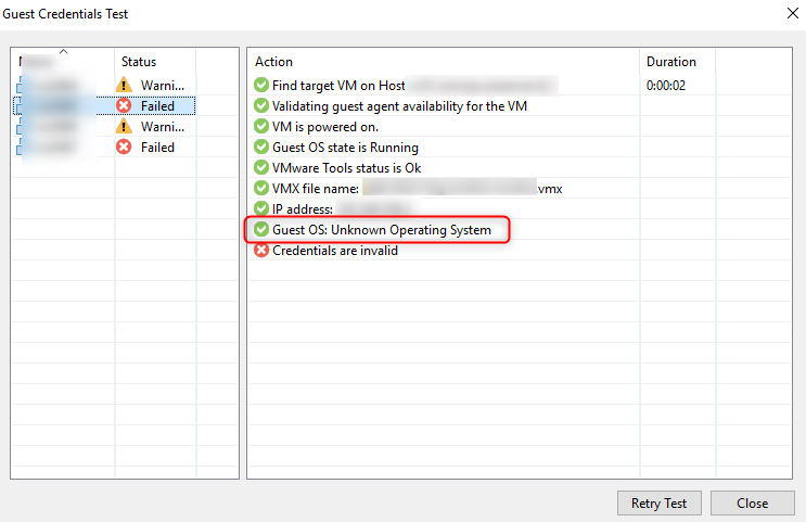 "Veeam Test Credentials ""Unknown Operating System"""