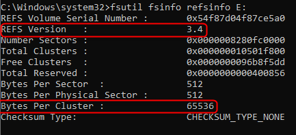 Windows ReFS configuration ReFS volume
