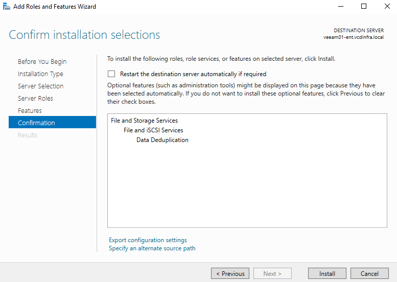 Installing Windows Server Data Deduplication feature