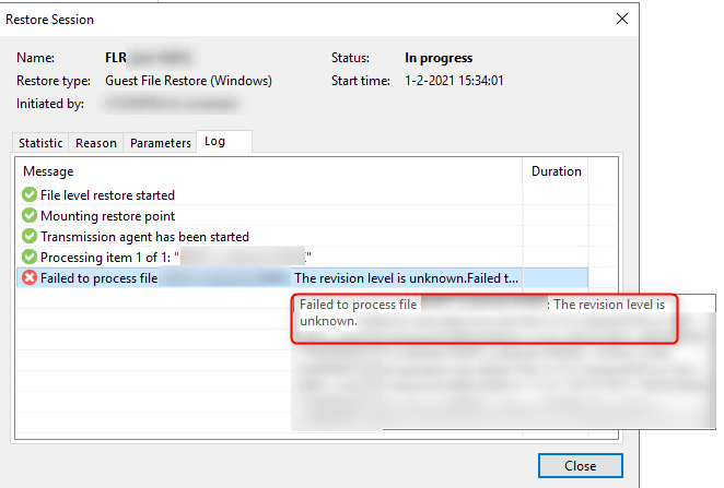 Manual Veeam FLR error message after enabling Windows Data Deduplication