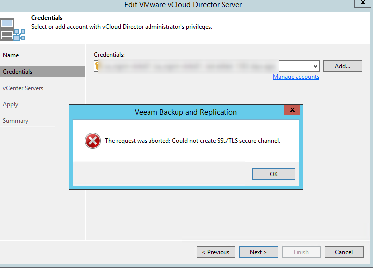 Veeam v11 connection issue to VCD 10.2.2
